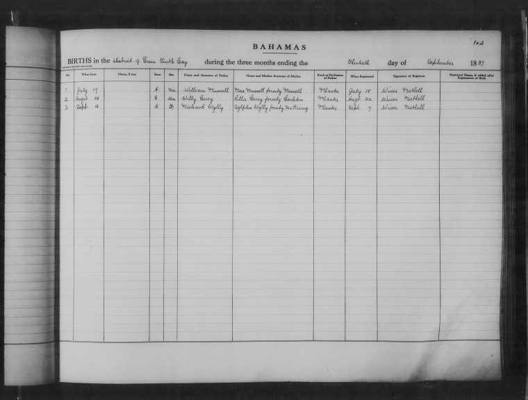 Unknown Child Birth Record - Wesley Curry