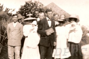Green Turtle Cay Church of God organized in 1913.  Hartley and Mira (holding daughter, Mizpah) are to the far left