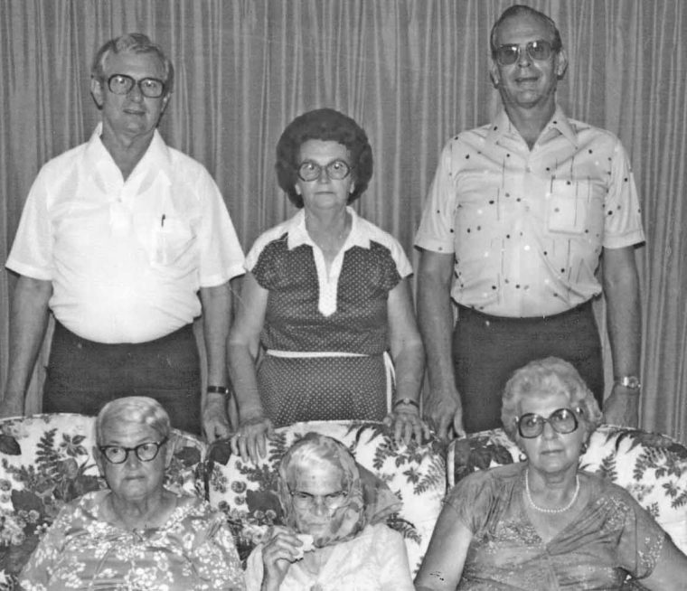 Ma Edie with her five children. Back row: Donald, Deloris, Cedric Front row: Sybil, Edie, Audrey. Photo courtesy of Mary Saunders McCluskey, granddaughter.