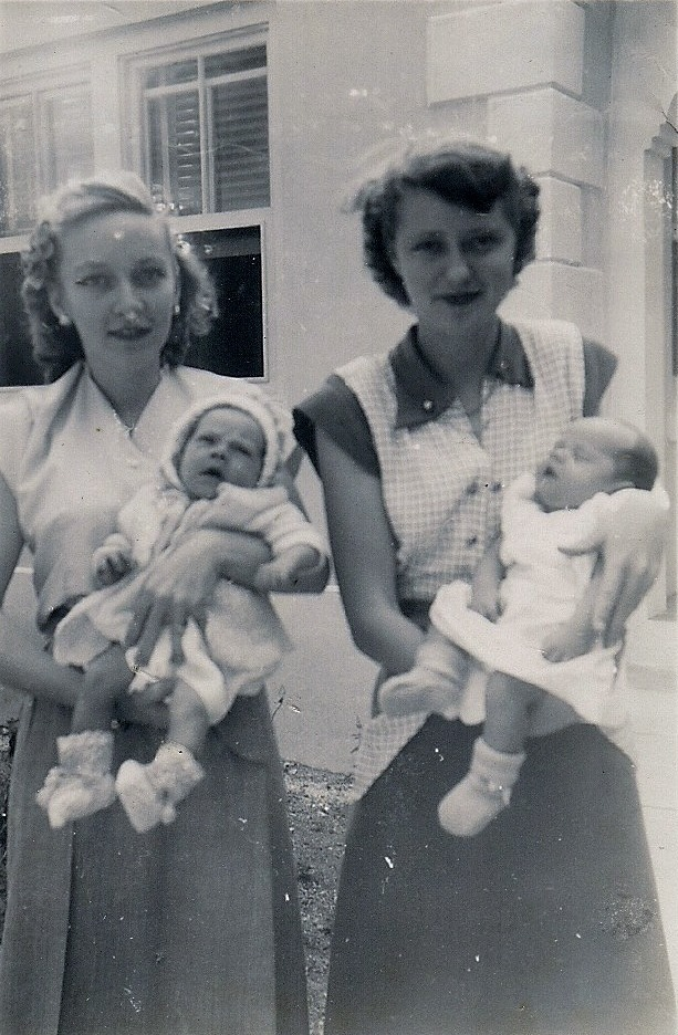 My Mom on the left holding my sister. Jetty Lowe on the right holding her cousin, Jay Hatfield.